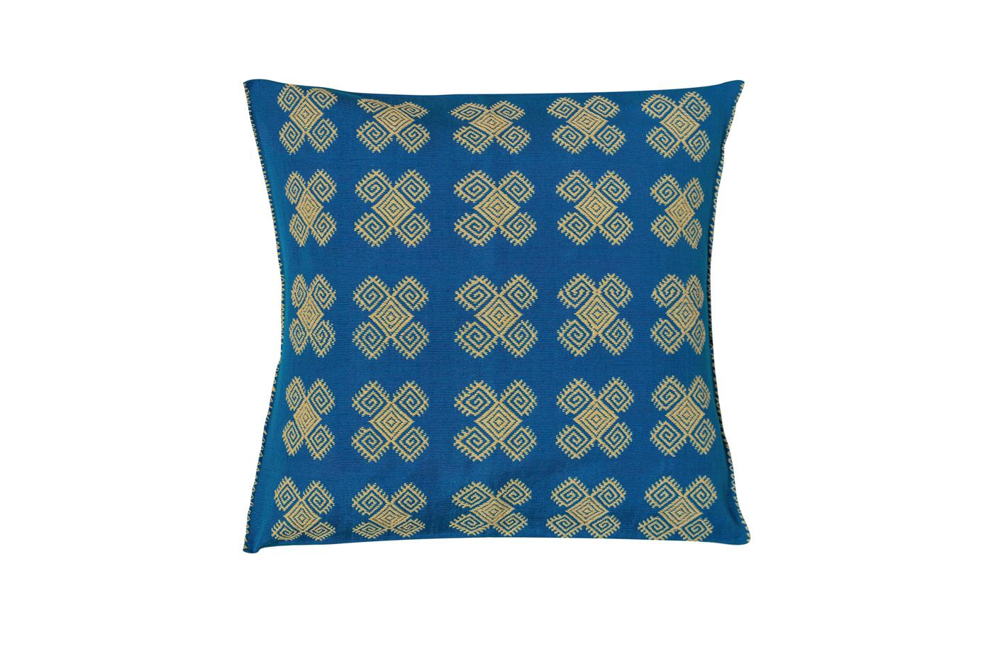 Cojín Mexicano en algodón con patrones geométricos-azul