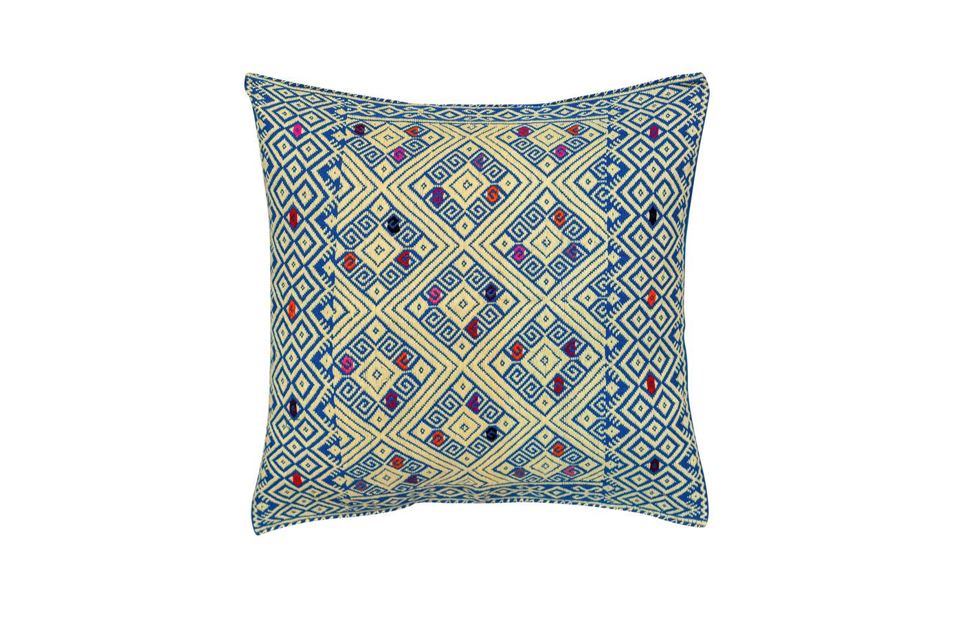 Cojín Mexicano en algodón con patrones geométricos-gris