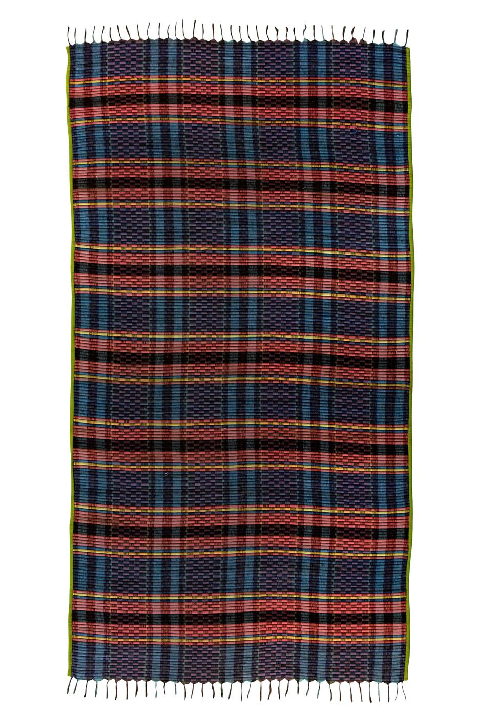 Tapete de algodón con patrones de cuadros- Azul/Gris