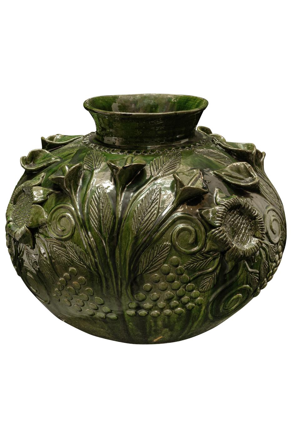 Mexican Green Ceramic Vase