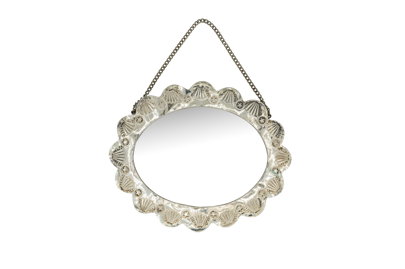 Turkish silver-oval wall-hanging mirror
