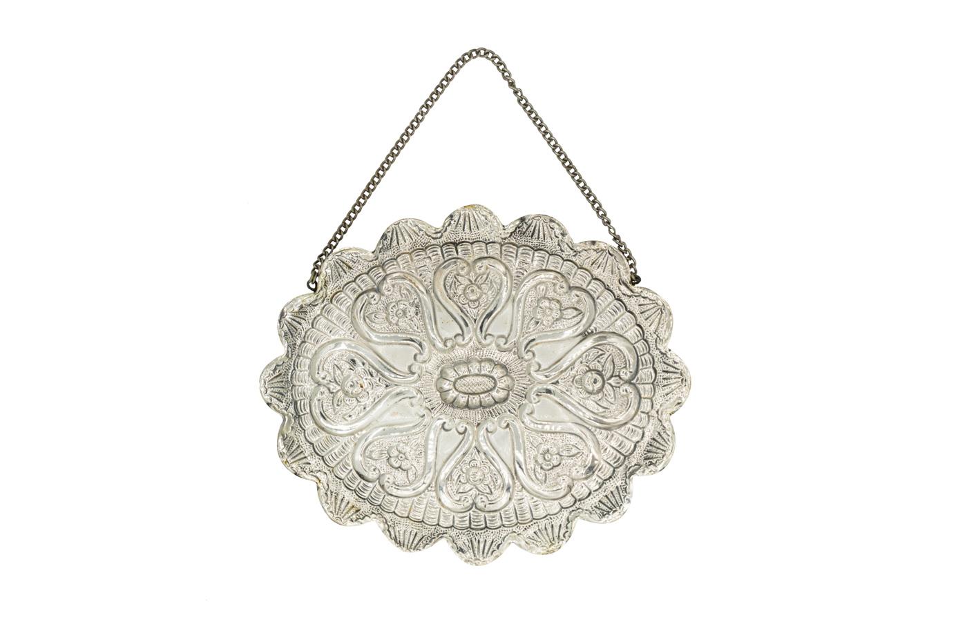 Espejo colgante de pared de plata turca-ovalado