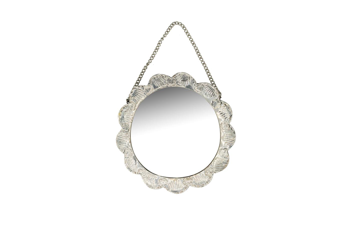 Turkish silver wall-hanging mirror-round