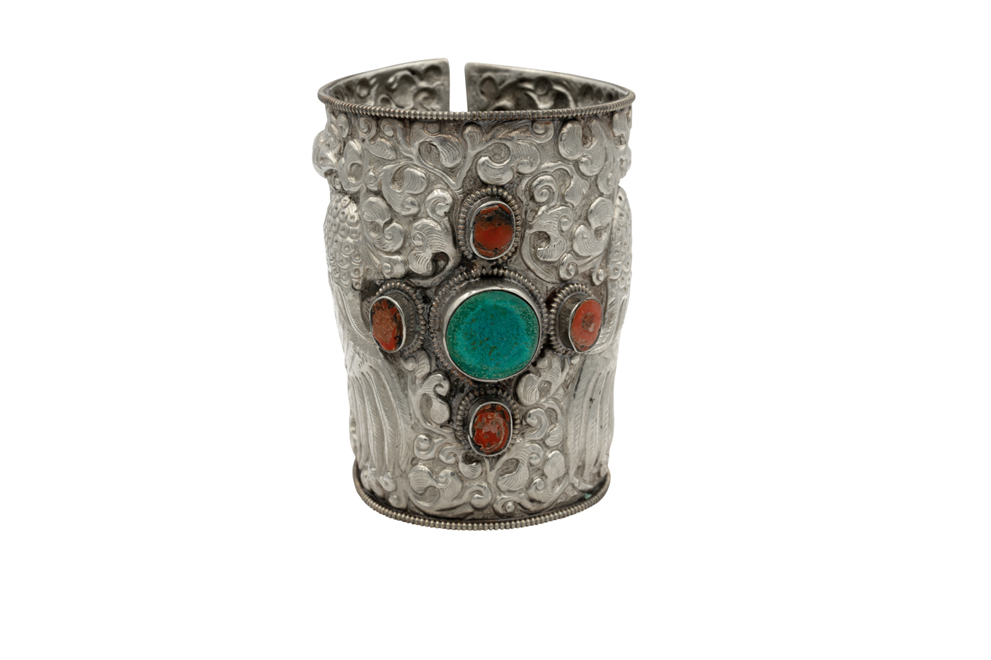 Thai bracelet in antiqued silver, with coral and turquoise stones