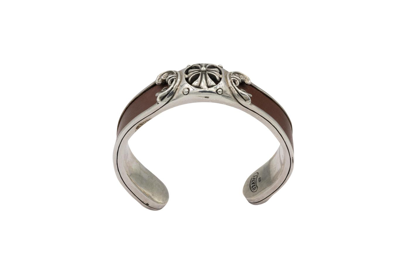 Leather and silver fleur-de-lis bracelet Harley Dadvinson-Café