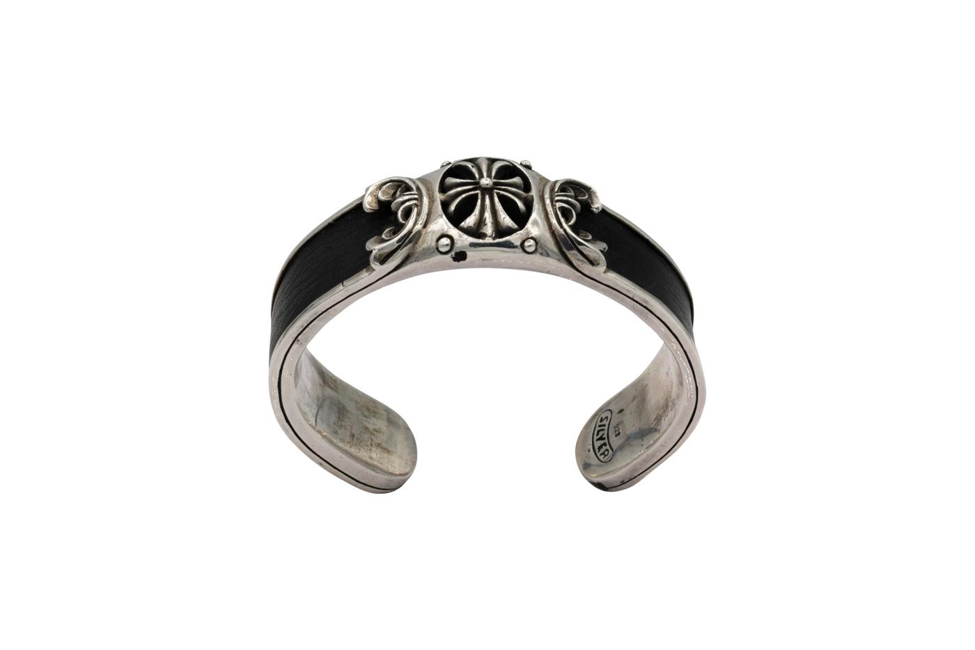 Leather and silver bracelet fleur-de-lis Harley Dadvinson-Black