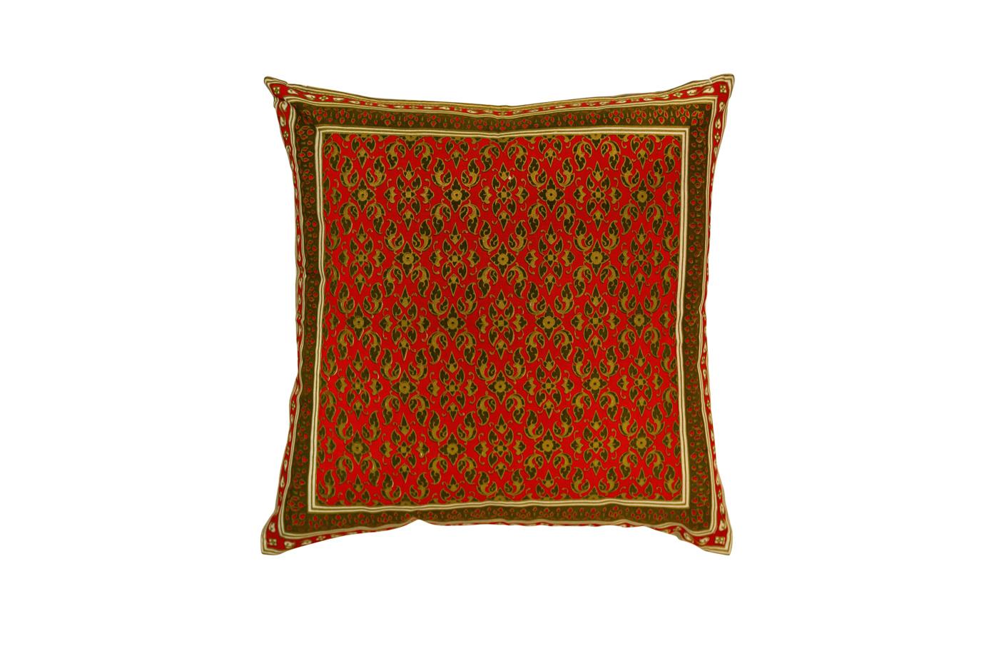 Cojín en seda con estampados florales-naranja/café