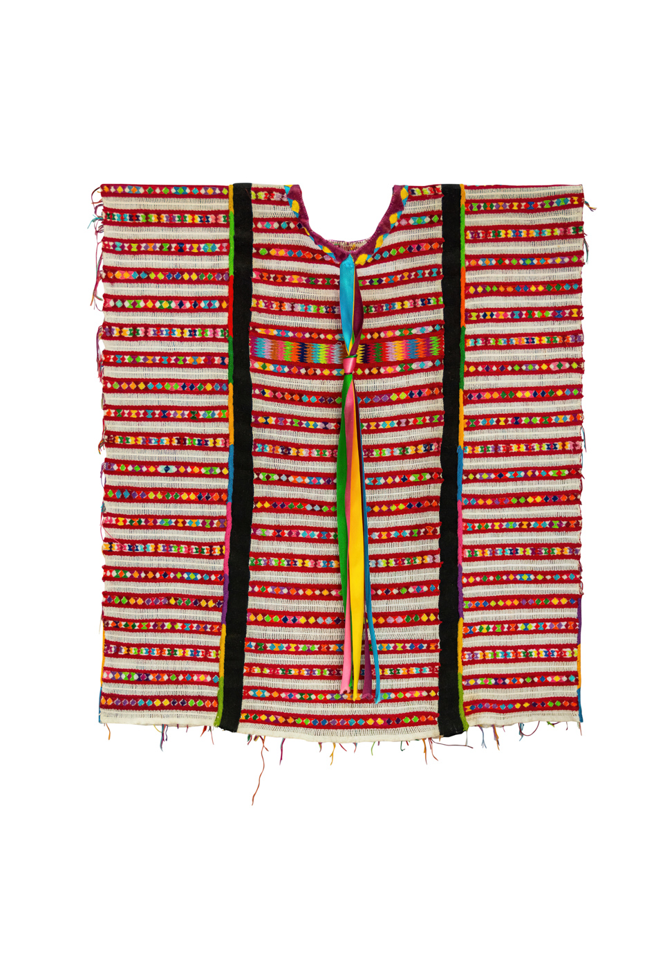 Blusa-Huipil Mexicana, red/white