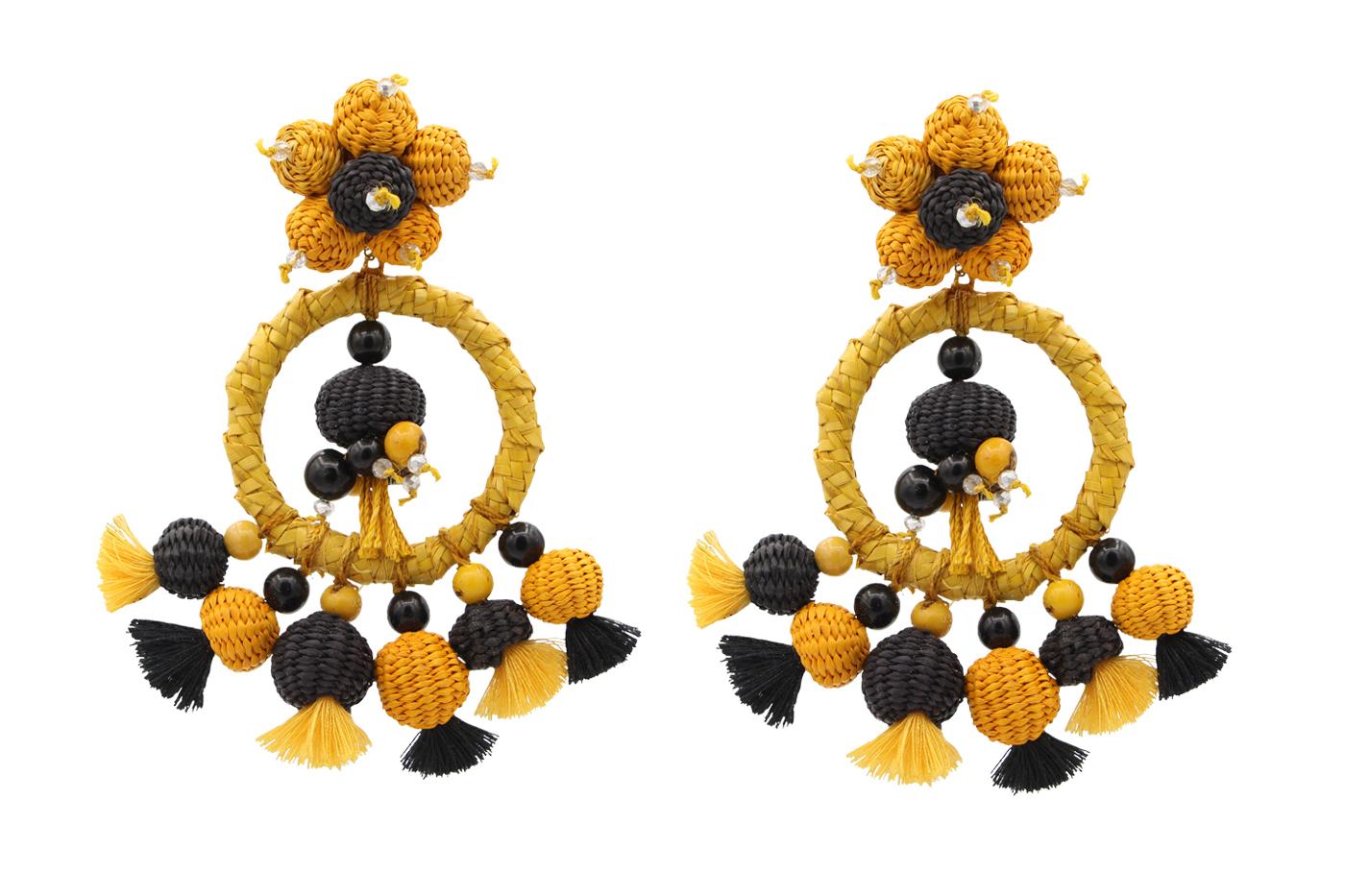 Arete iraca tradicional-amarillo/negro