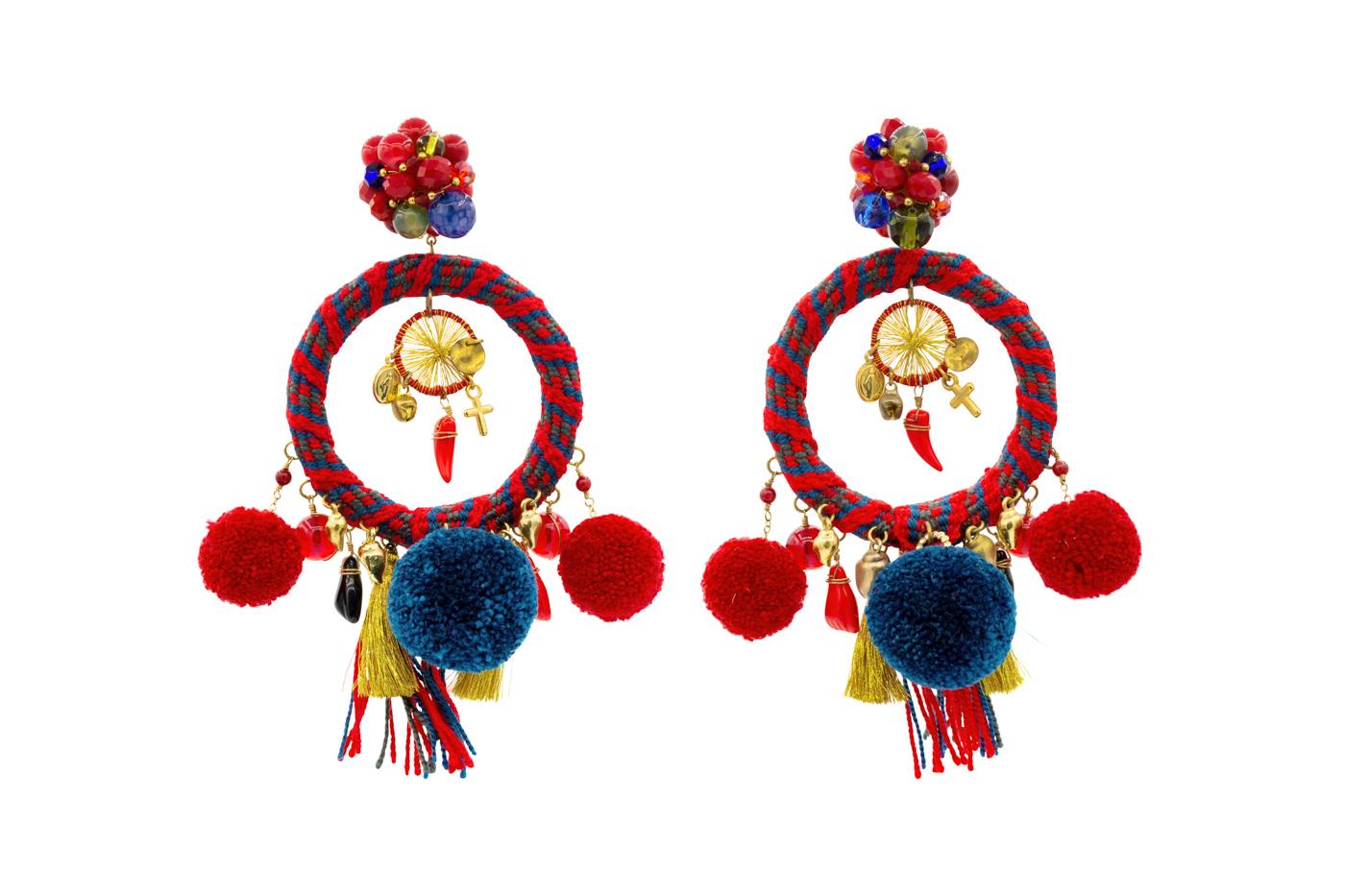 Arete Tradicional Wayuu-rojo/azul
