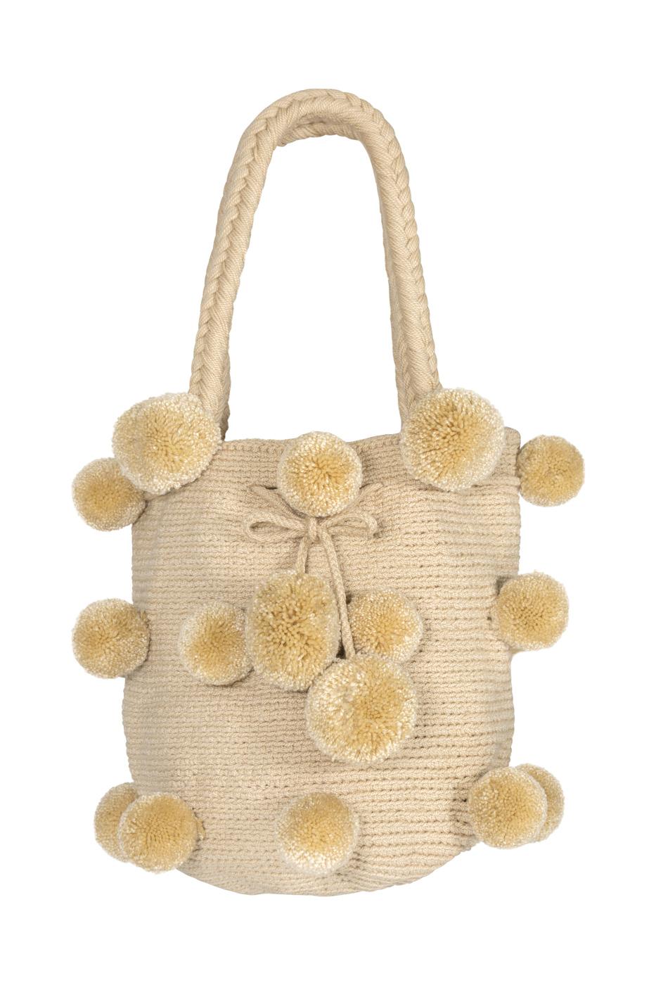 Mochila 26 pompones beige