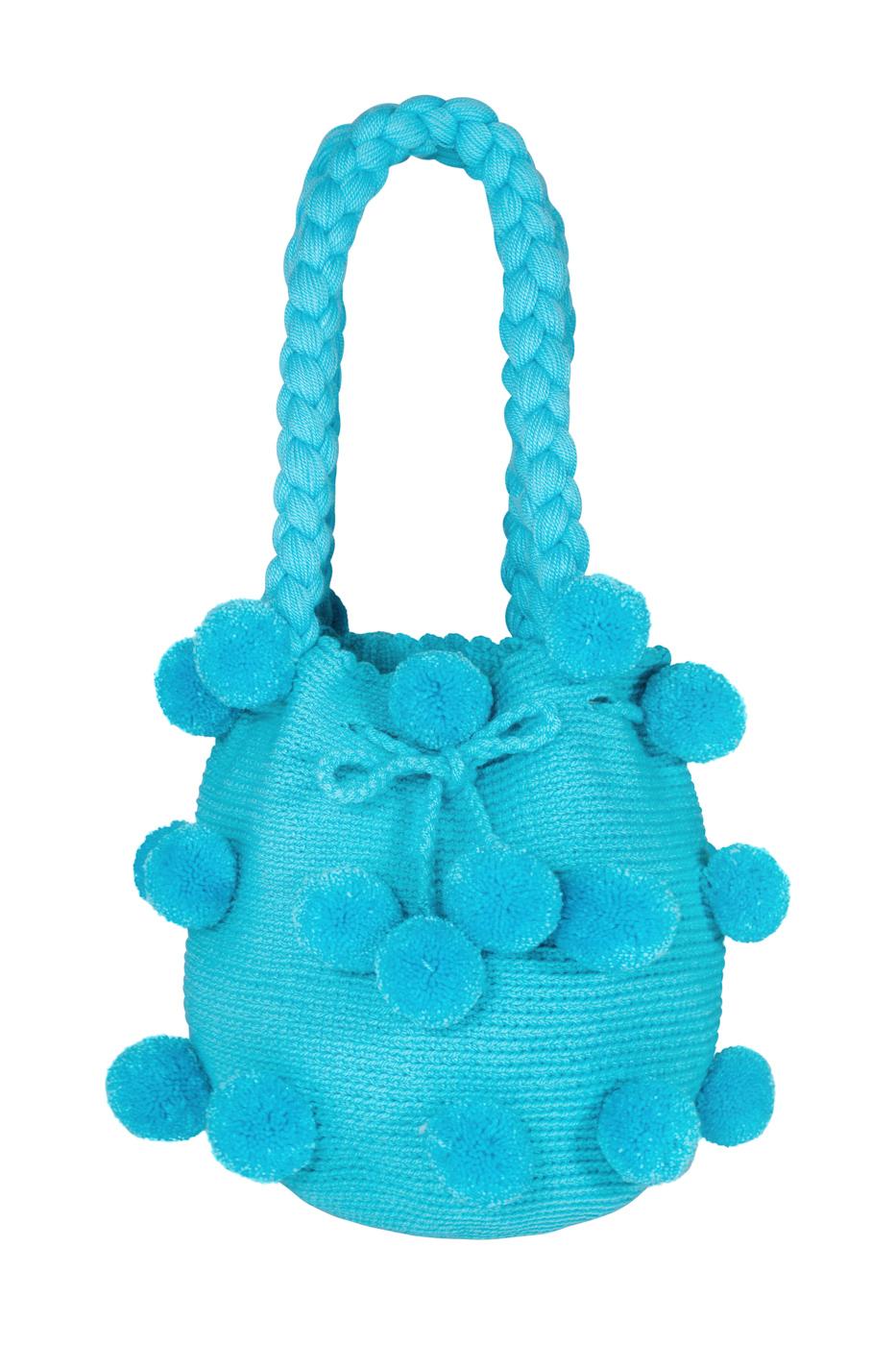 Mochila 26 pompones azul bebe