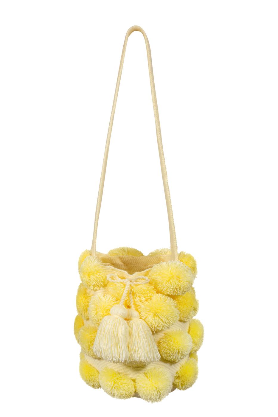 Mochila Wayuu pompones desflecados- amarilla