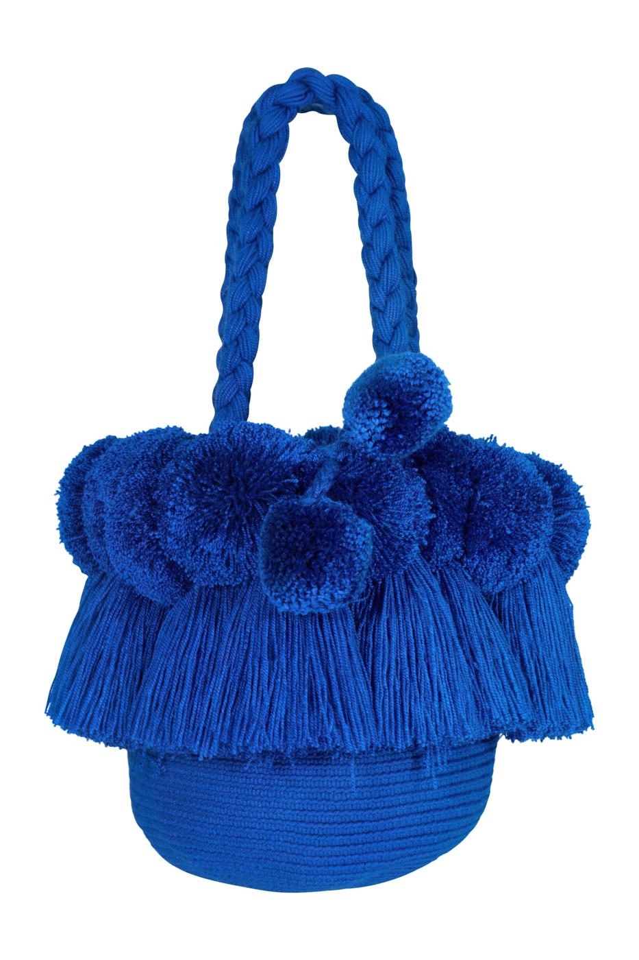 Mochila flecos y pompones- azul jean