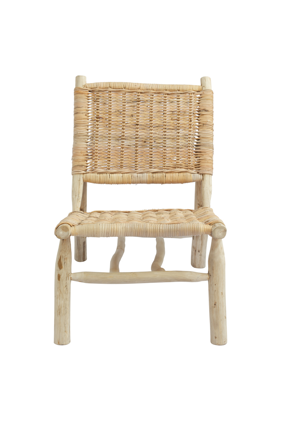 Kubu chair in teak wood and rattan without arms