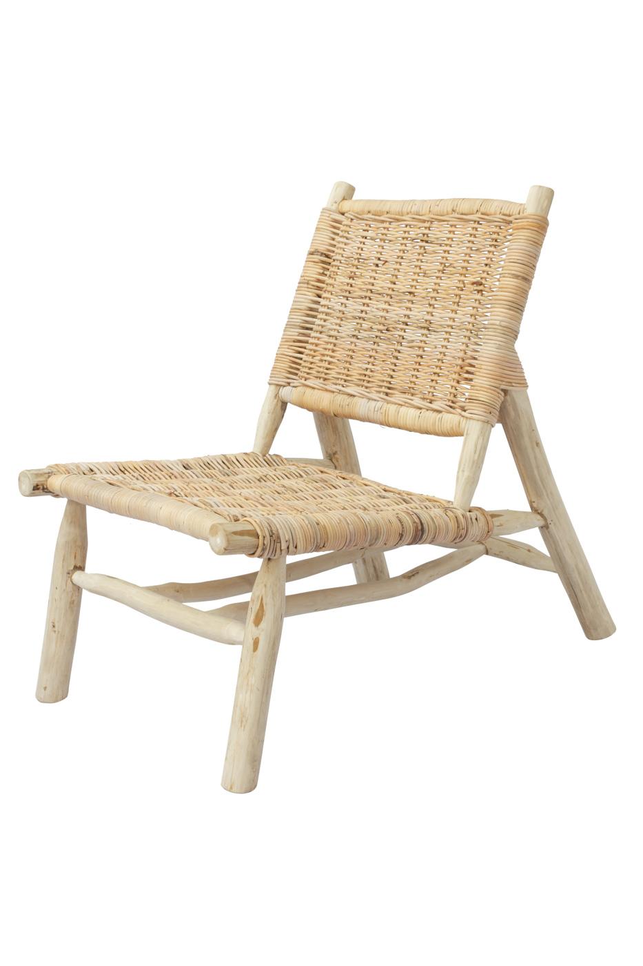 Silla Kubu en madera teka y rattan sin brazos