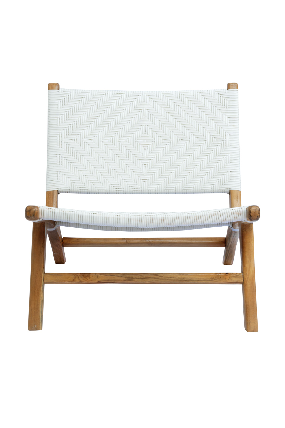 Lazy chair in teak wood and synthetic rattan