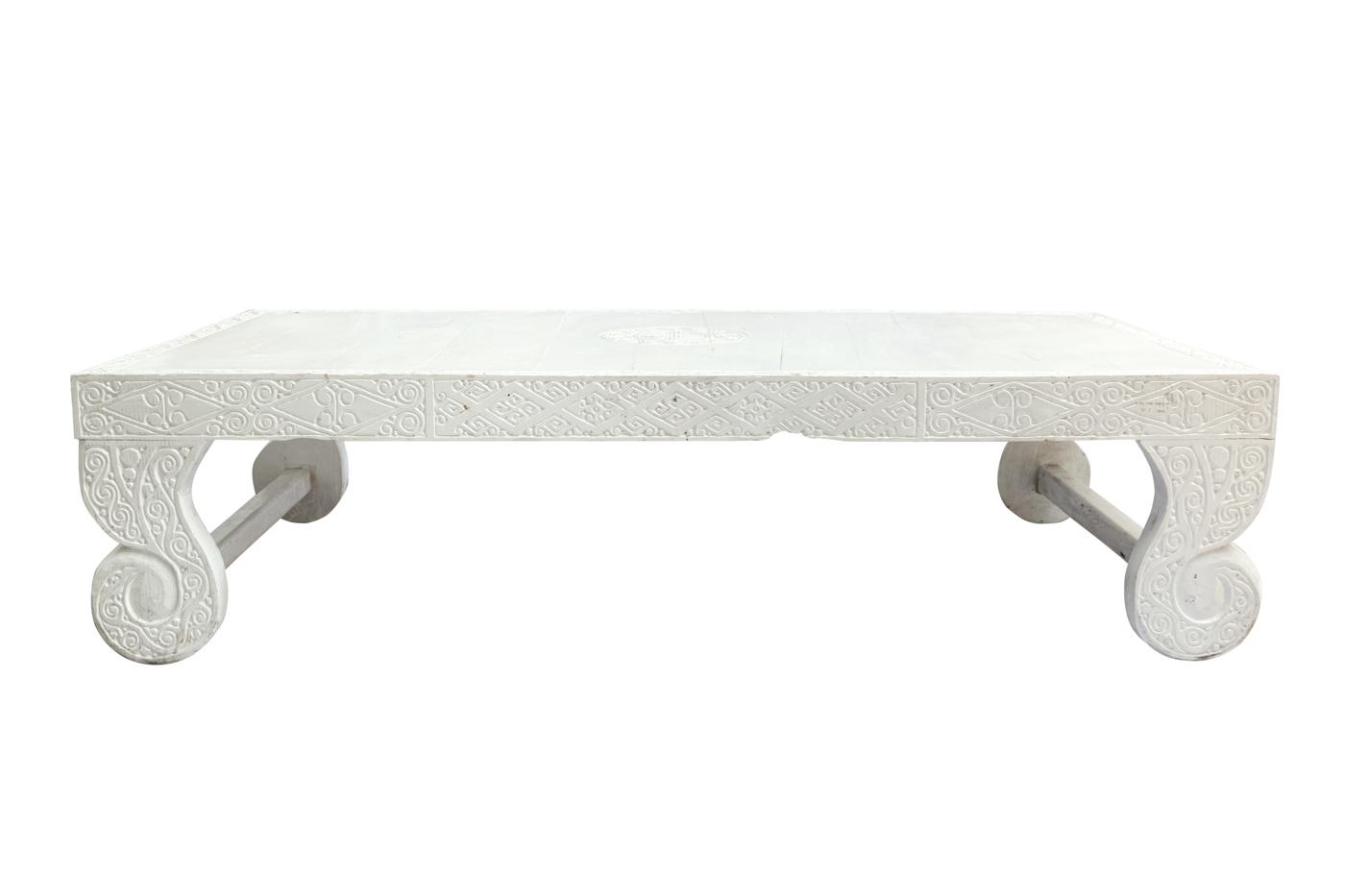 Mesa de centro Timor tallada blanco-180 Cm