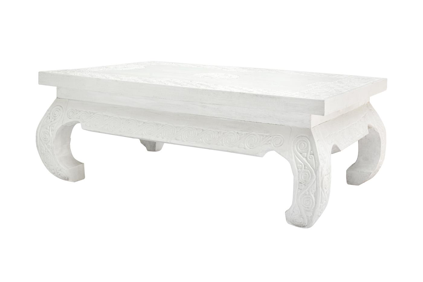 Mesa de centro Timor tallada-blanca 120 Cm