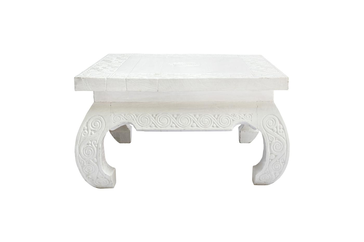 Mesa de centro Timor tallada-blanca 80 Cm