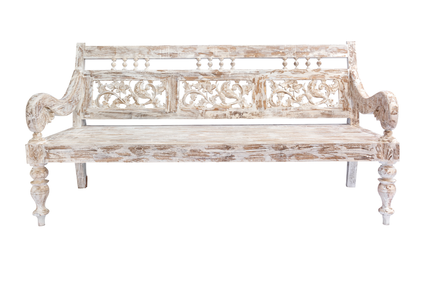Banca Balinesa tallada en madera whitewash, 200 Cm