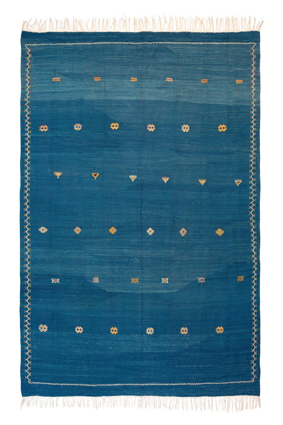 Alfombra Marroquí en seda de cactus-Azul jean