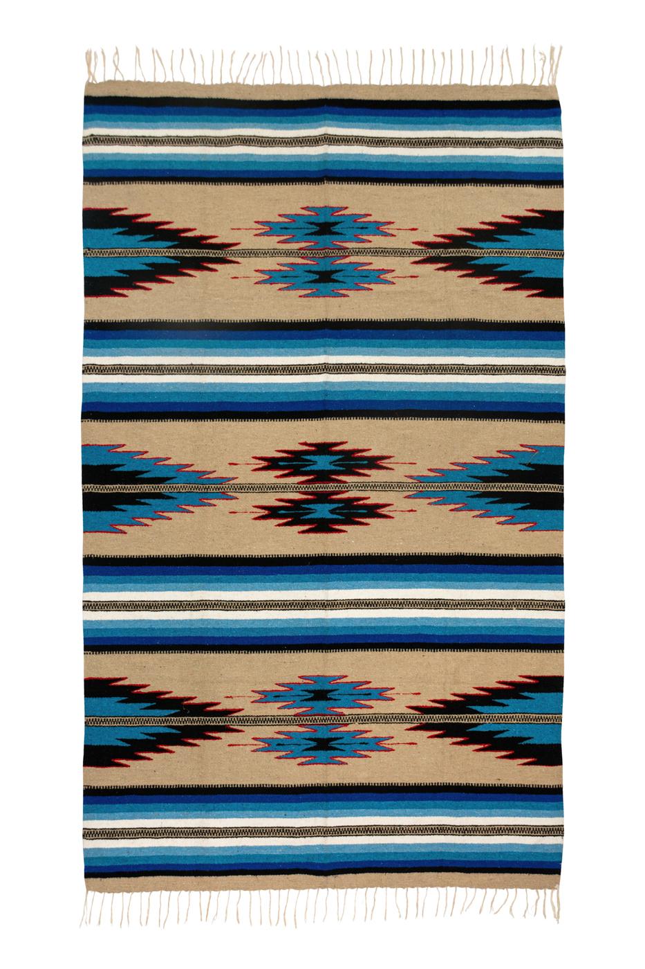 Tapete de lana Zapoteca-Flechas azules