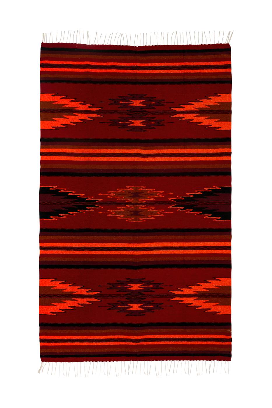 Tapete de lana Zapoteca-Flechas naranjas