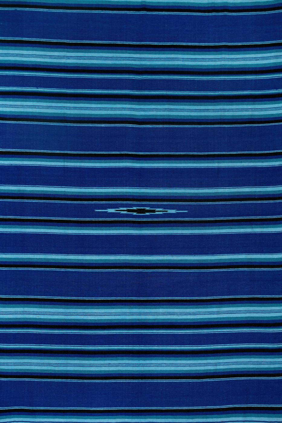 Tapete de lana Zapoteca-Líneas azules