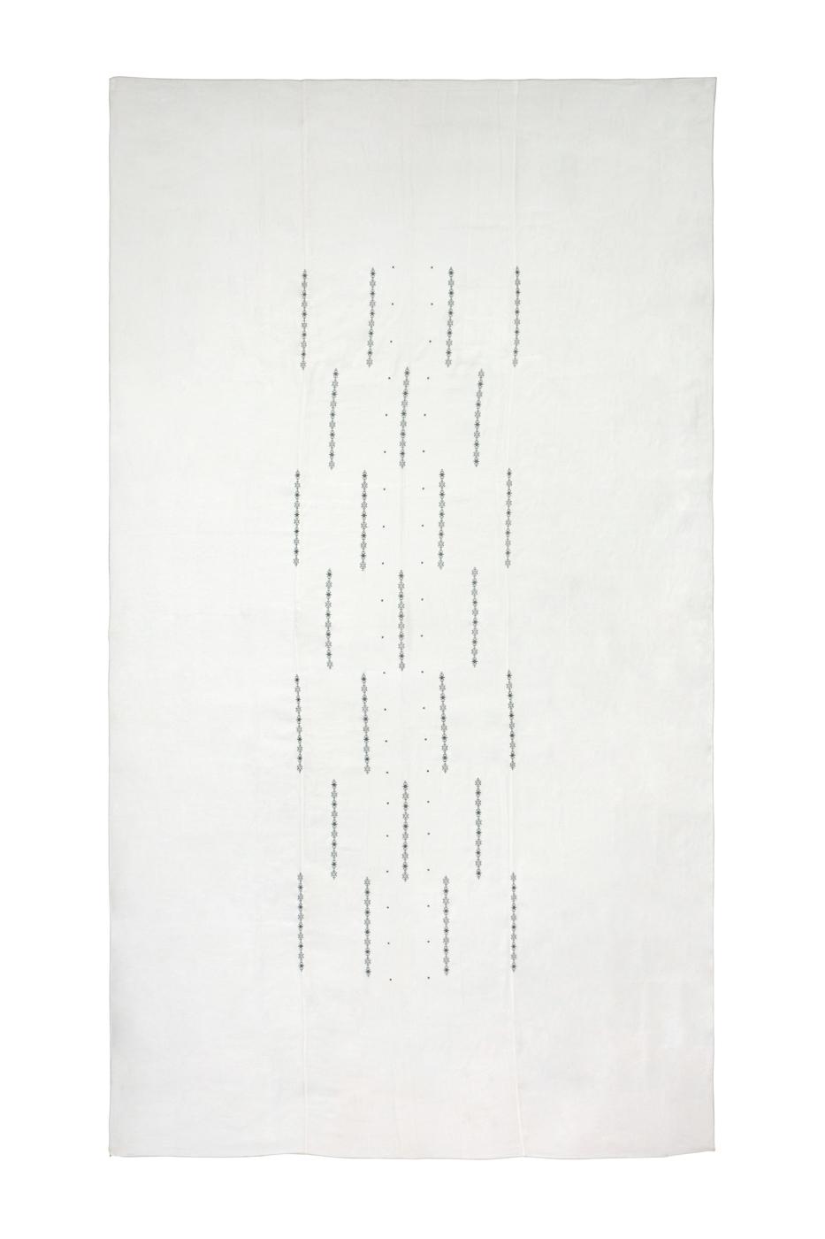 Mantel de lino en telar Marroquí bordado-blanco
