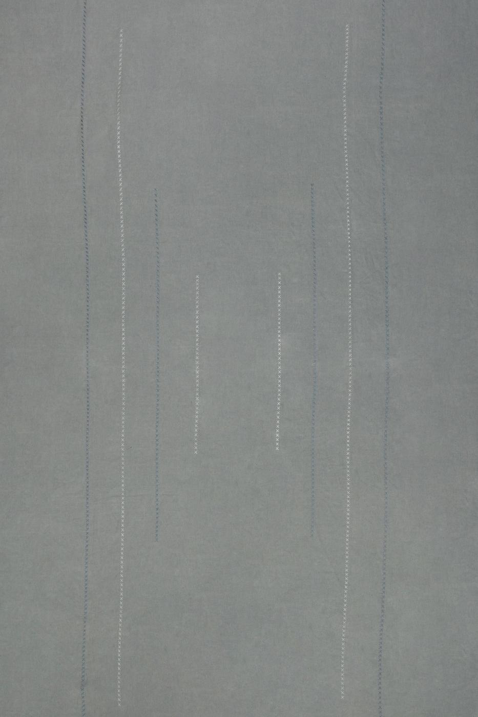 Mantel de Lino telar Marroquí bordado- gris claro