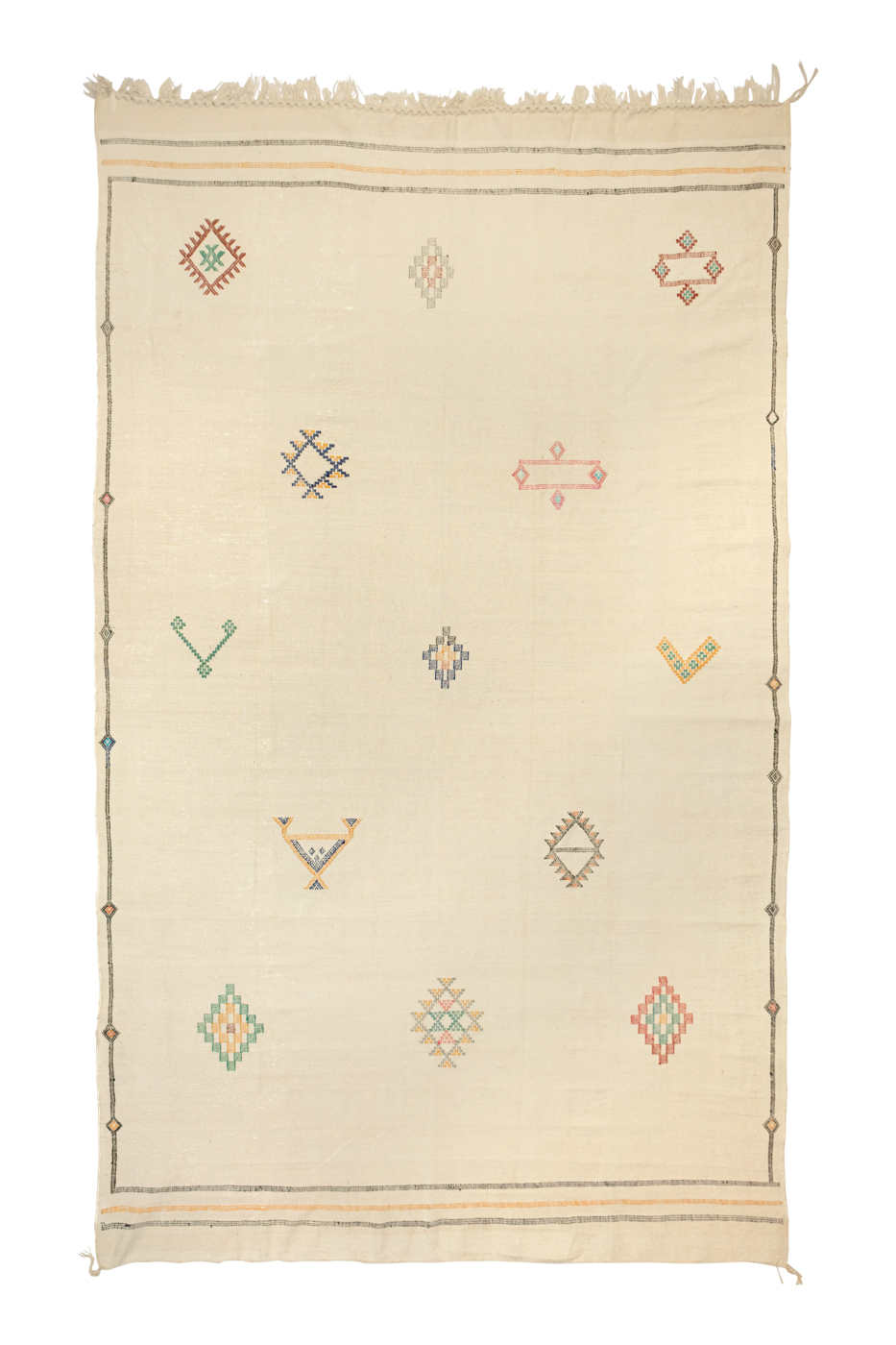 Moroccan silk cactus rug with geometric patterns
