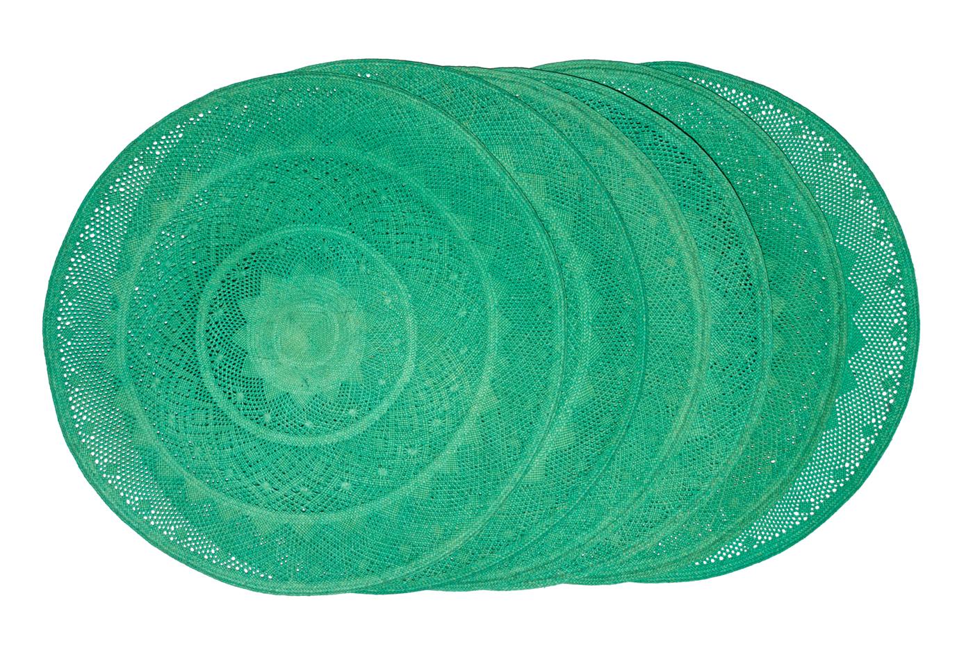 Set de individuales X6 en palma de iraca-Verde
