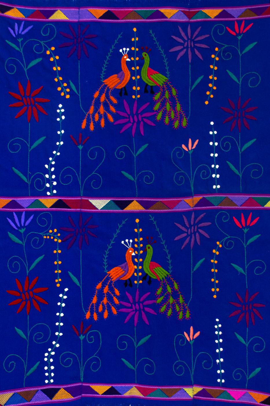 Tela Mexicana en telar de cintura azul
