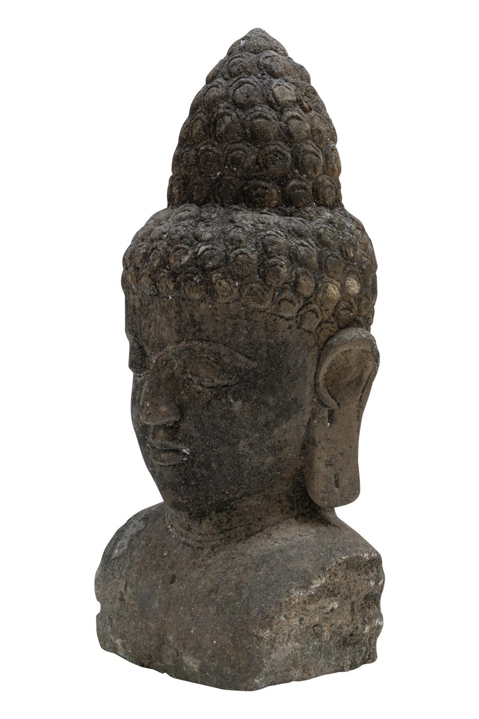 Escultura de piedra cabeza de Buda