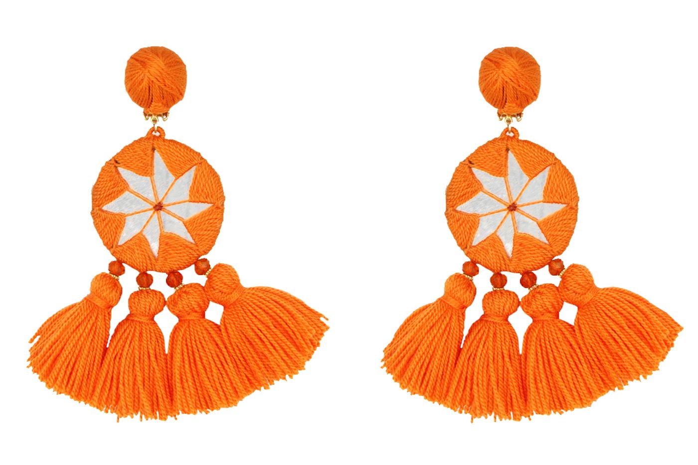 Aretes Estrella de la India-naranja