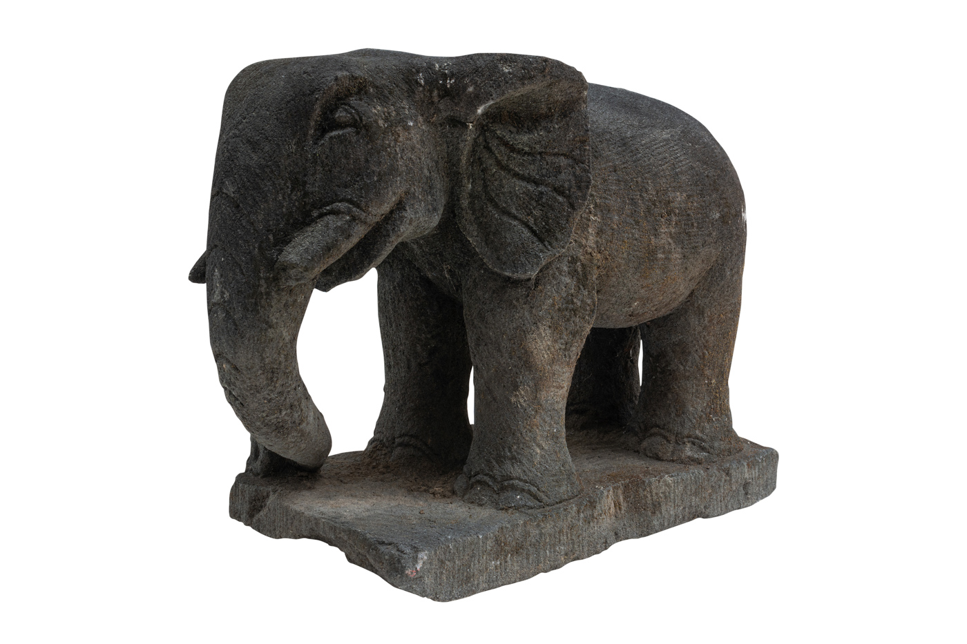 Elephant sculpture carved in volcanic stone