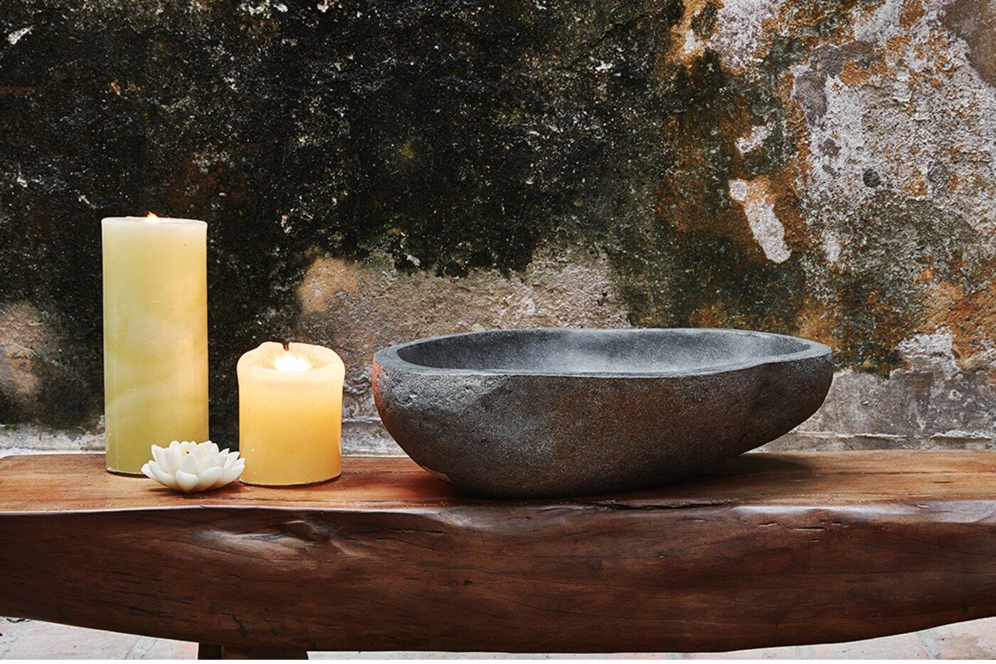 Lavamanos en piedra natural ovalado