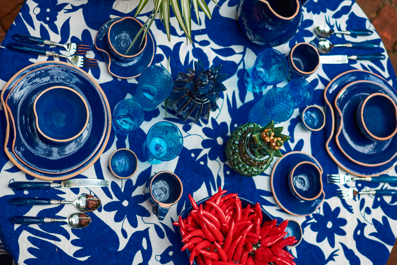 Vajilla en cerámica Oaxaca-azul sandunga