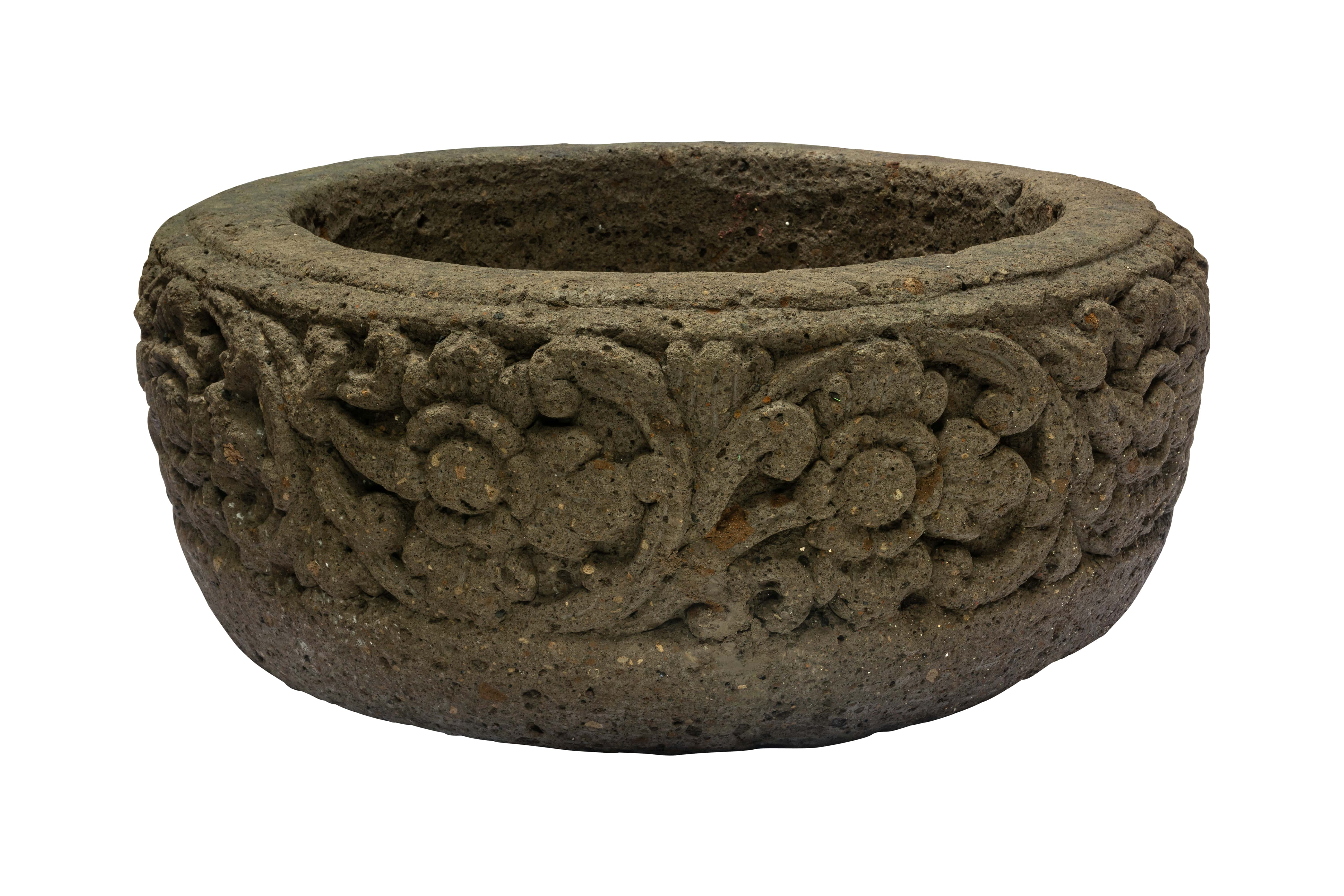 Pot carved in stone with floral design