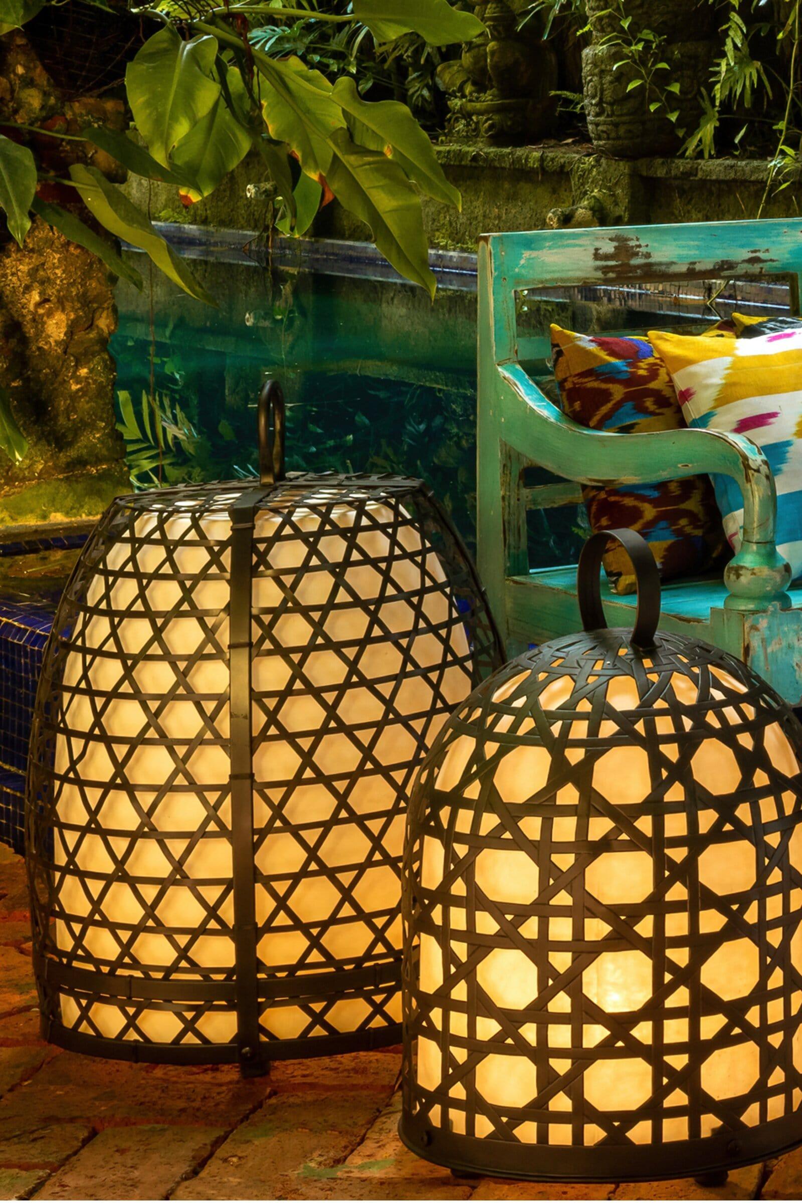 Lámpara jaula de gallo en bronce-61 Cm