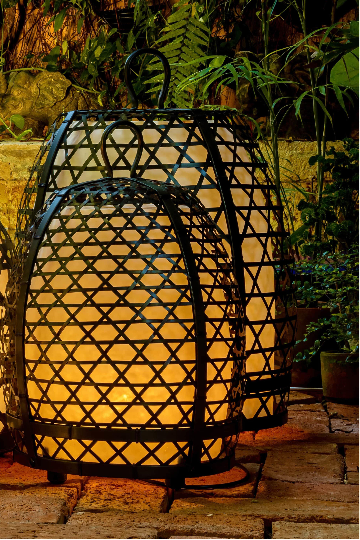 Lámpara jaula de gallo en bronce- 77 Cm
