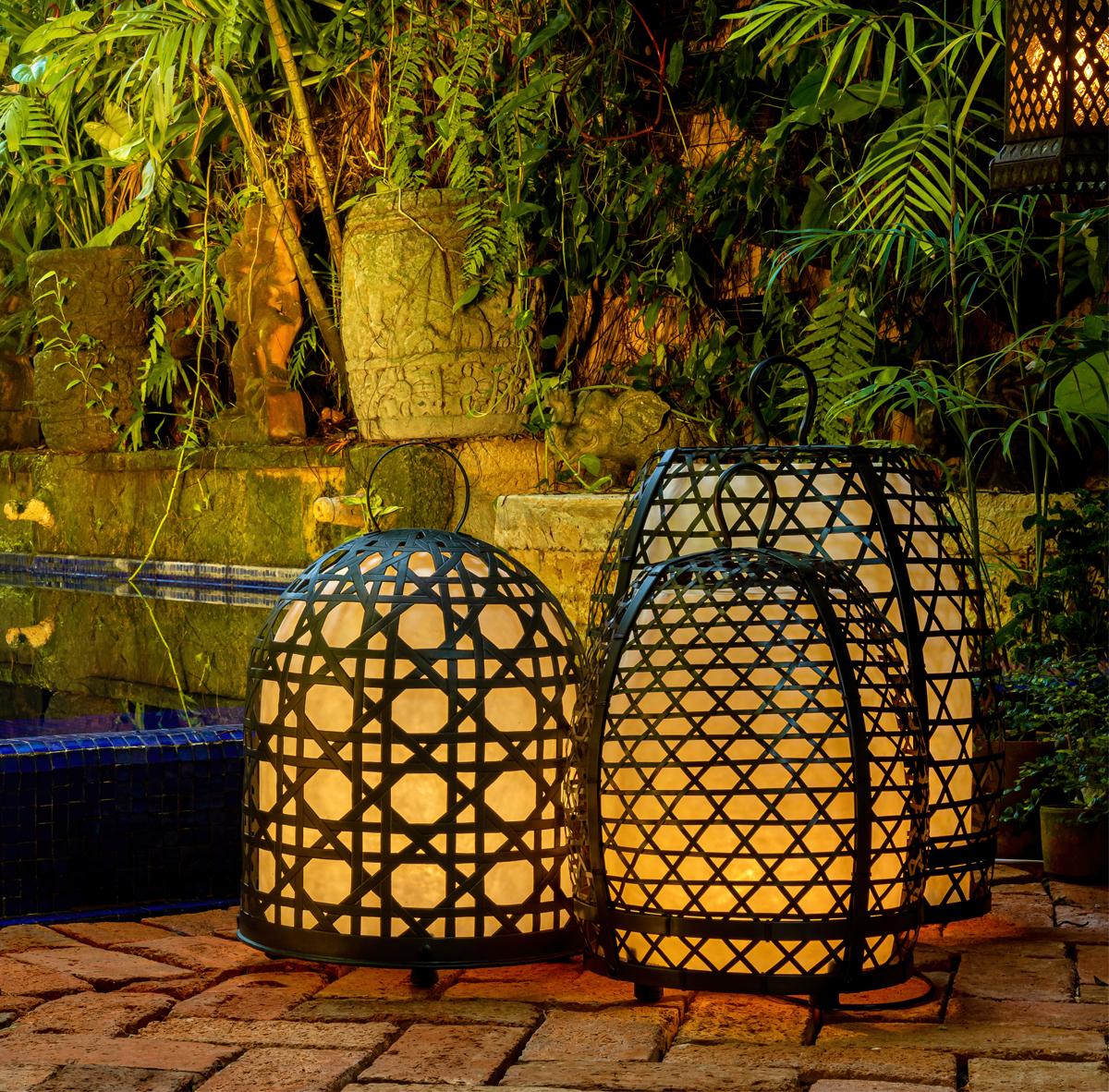 Lámpara jaula de gallo en bronce- 69 Cm