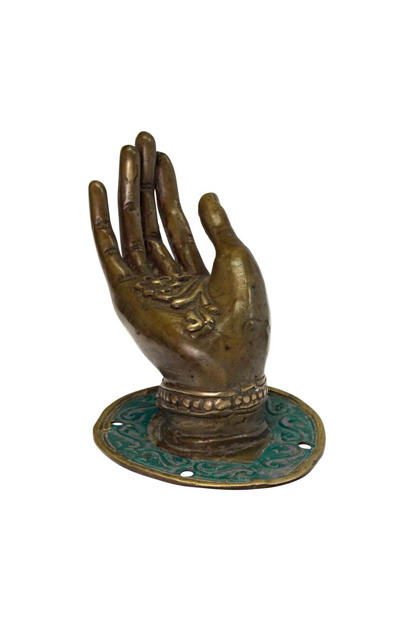 Mano decorativa en bronce café