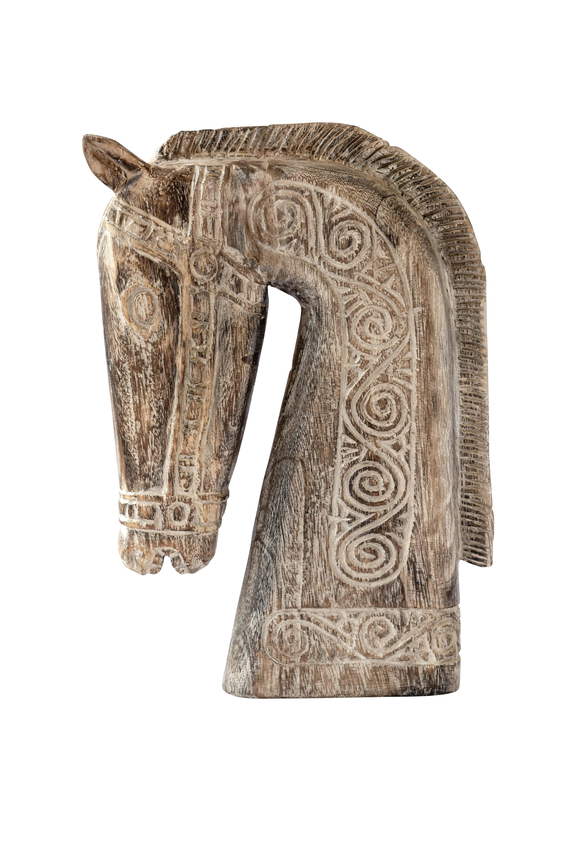 Escultura de caballo tallado en madera