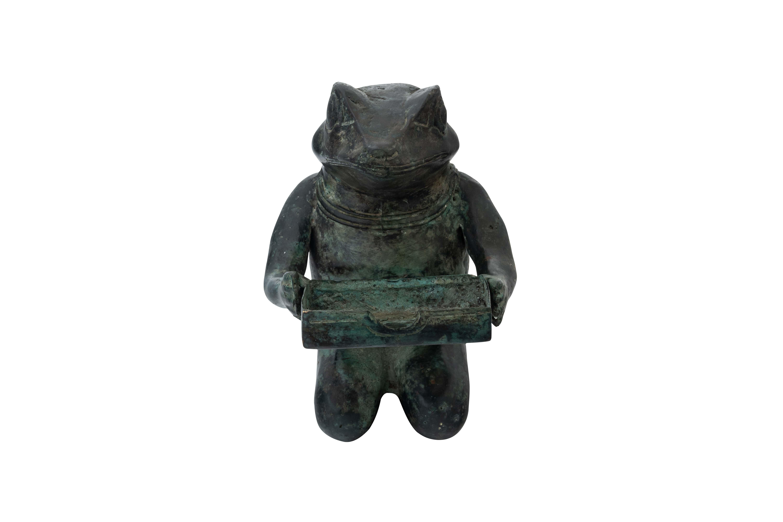 Figura decorativa de rana en bronce