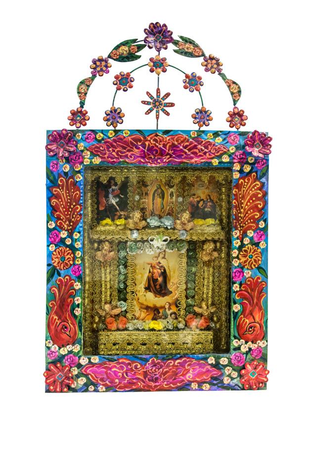 Nicho artesanal Mexicano de arte popular virgen