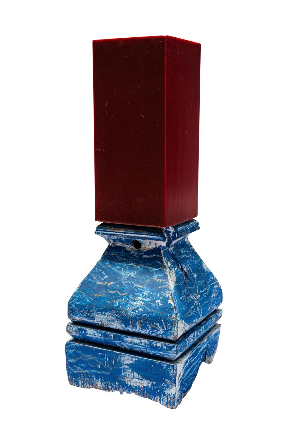 Portavela vintage en madera- azul