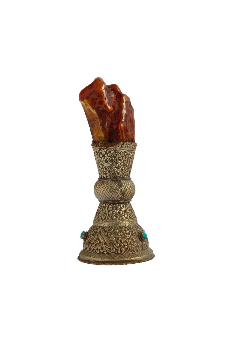 Mini pedestal metal y ámbar-19 Cm