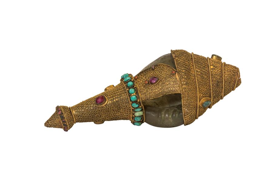 Caracol forrado en alpaca turquesa